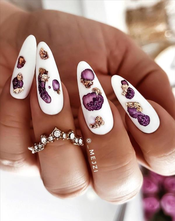 Luxury White nails art design