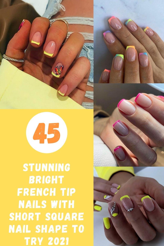 Natural short square nails with French tip nail design 2021!