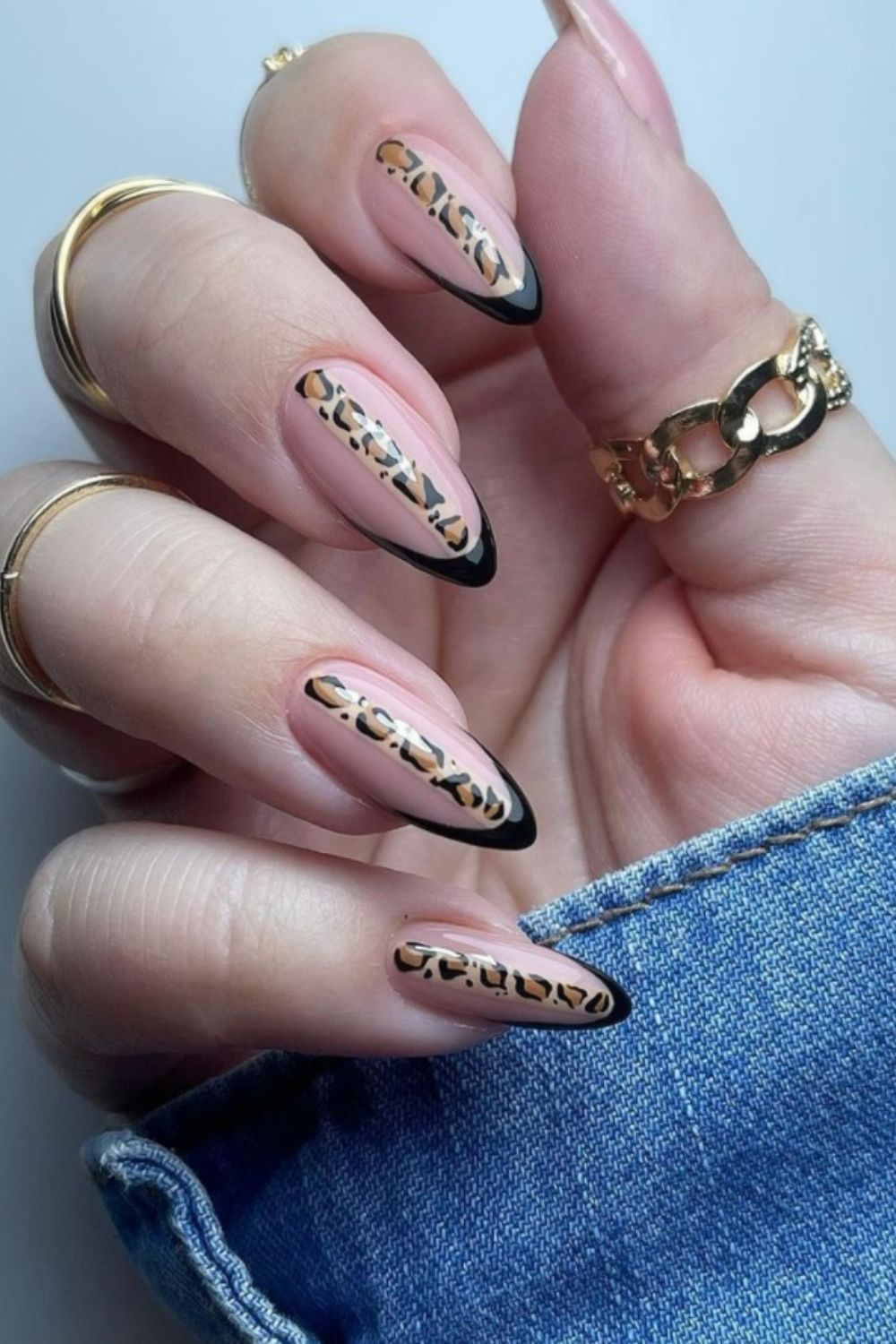 stylish almond and French tip nails