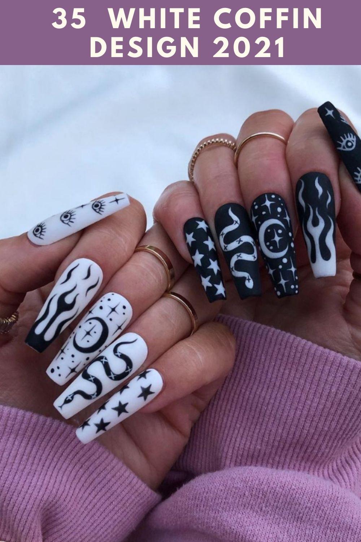 white coffin nails design 2021