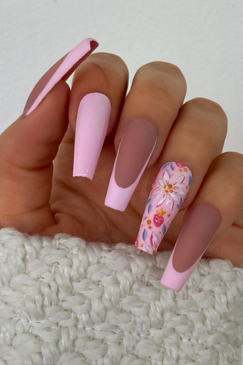 French tip coffin nails | 35Ways to Make a French Manicure Cool Again