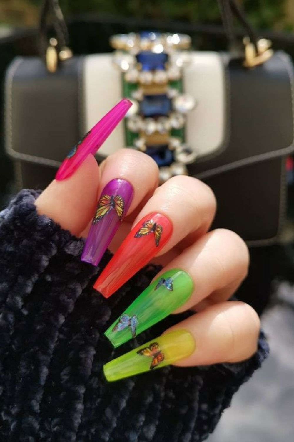 Coffin acrylic nails | The Hottest Nail Trends Of 2021-Coffin Nail Design