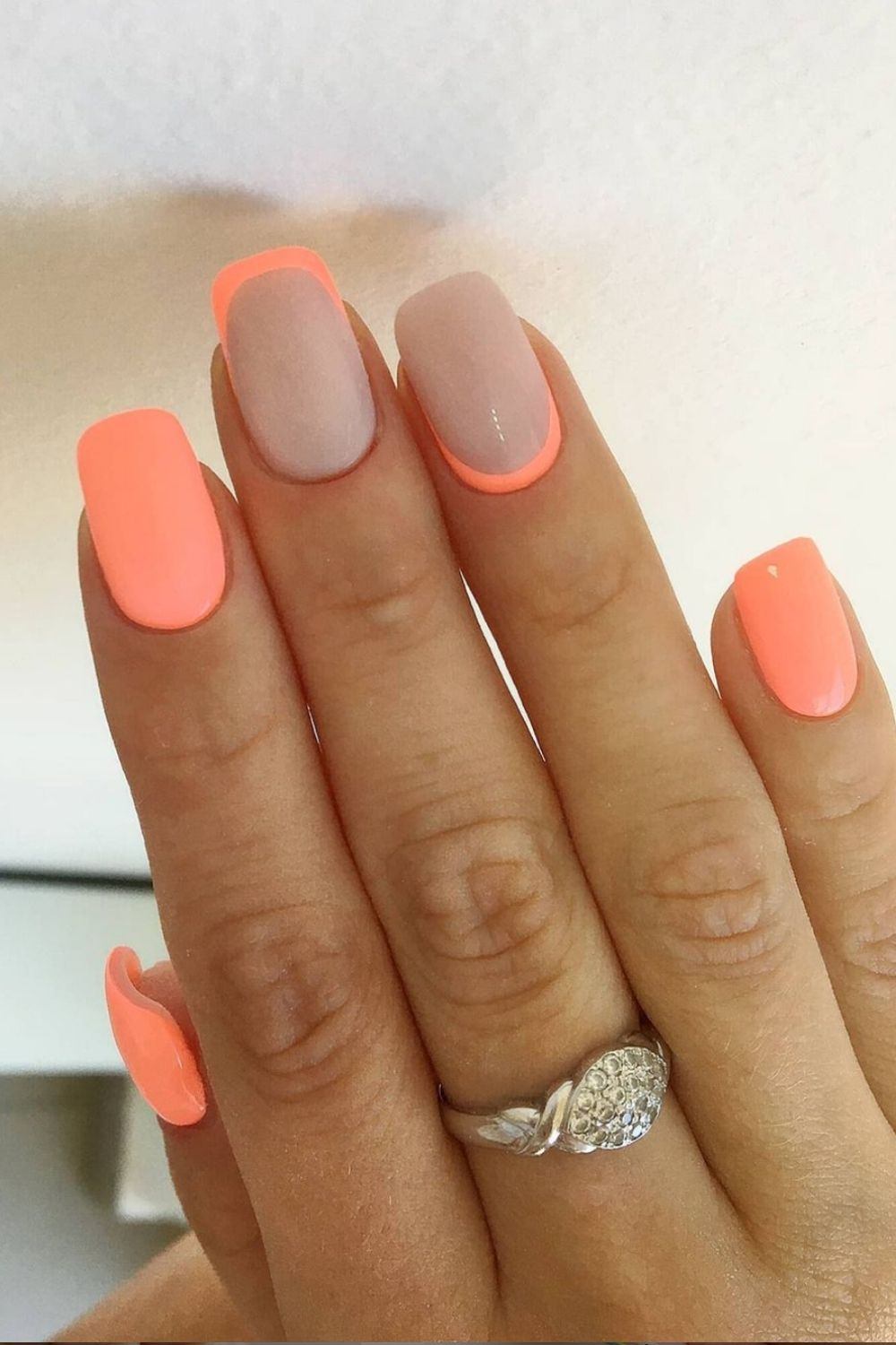 54 Bright Neon acrylic nails with green, pink, yellow, orange nail colors