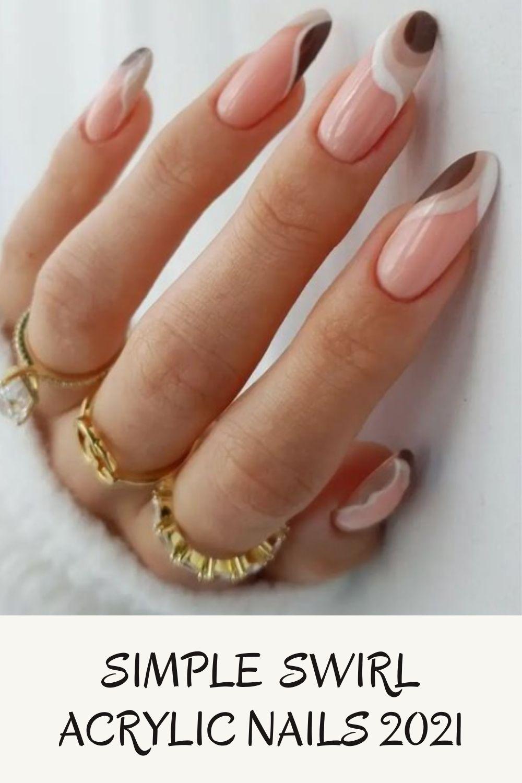 Pretty Swirl Acrylic Nails For Fall