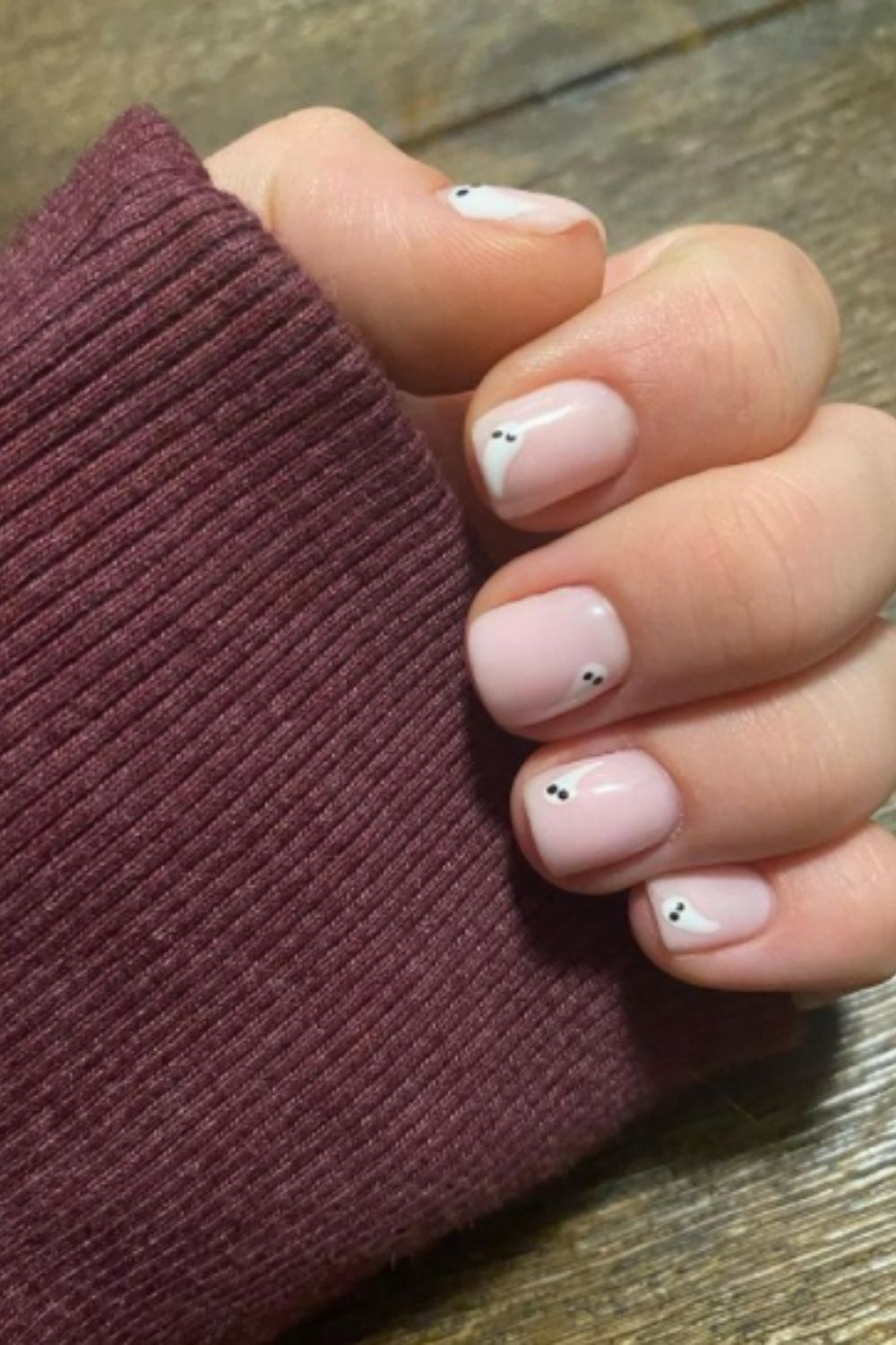 Short square ghost nail design